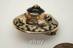 Antique Victorian English 9k Gold Pearl Black Enamel Mourning Brooch C1880