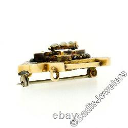 Antique Victorian Etched 18k Yellow Gold Black Enamel & Seed Pearl Brooch Pin