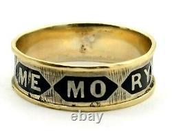 Antique Victorian Memento Mori 9k Yellow Gold Black Enamel Band Siz 10 États-unis 350579