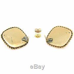 Antique Victorian Or 14k Graine Pearl & Émail Noir Panneau Marquise Boucles D'oreilles