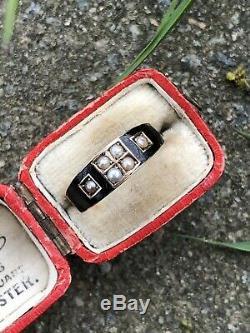 Antique Victorian Perle Noire Émail Bague Or Jaune