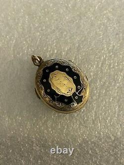 Antique Victorian Yellow Gold Mourning Locket Black Enamel Cross