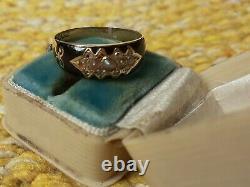 Antique Victorian/edwardian Or Graine Perle Diamant Bague De Deuil Émail Noir