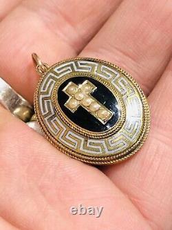 Antique Victorien 15 Ct Gold Mourning Locket / Pendentif Blanc Et Noir Enamel 1880
