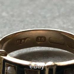 Antique Victorien 15ct Or Émail Noir Perle Deuil Boucle Bague