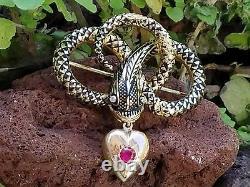 Antique Victorien 18k Or Enamel Snake Snake Heart Mourning Broche Broche Pin 8.5gm
