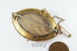 Antique Victorien Anglais 15k Or Onyx Pearl & Black Enamel Deuil Broche