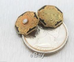 Antique Victorien Edwardian 14k Or Jaune Émail Noir Diamant Boutons De Manchette Pour Hommes