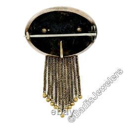 Antique Victorienne 14k Or Noir Feuille D'émail Gravé Tassel Dangle Broche Pin