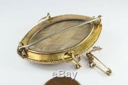 Antique Victorienne Anglais 15k Gold Onyx Black Pearl Enamel Deuil Broche C1880