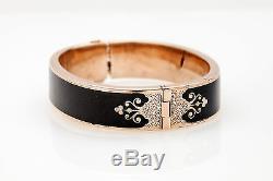 Antique Victorienne Des Années 1800 Or Émail Noir Perle 14k Bracelet 31g