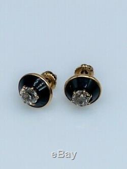 Antique Victorienne En Émail Noir 1.50ct Old Euro Diamond 14k Boucles D'oreilles En Or Jaune