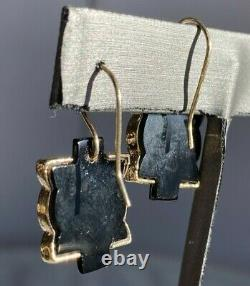 Antique Victorienne Pierced 18k Or Jaune Diamant Boucles D'oreilles Noir Onyx Dangle