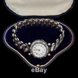 Antique Vintage Nouveau Argent Or Rose Sterling Allemande Niello Montre-bracelet