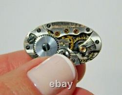 Antique Waltham Hadsworth Femme Wristwatch Enamel 14k Cas D'or Blanc 1i 33