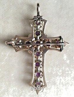 Arnate 14k Gold Victorian Cross Pin Pendentif 11 Améthystes Naturaux + Émail Noir