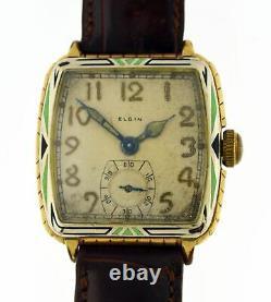 Art Deco Elgin E-12 14k Or Rempli Émail Deux Tons Wadsworth 17 Jewel Montre