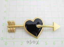 Auth Chanel 02p Flèche Coeur Cupidon Broche Goldtone / Émail Noir E42021