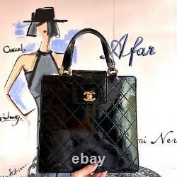 Auth Chanel Brilliant Matelasse Enamel Hand Bag Black Vintage From Japan