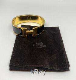 Auth Hermes CLIC Clac H Bracelet Manchette Bracelet En Émail Or Noir Avec Un Grand Sac De Boîte