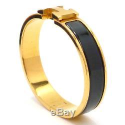 Auth Hermes CLIC Clac Pm Émail Laiton Couleur Or Noir Bracelet # S109035