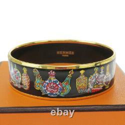Auth Hermes Cloisonne Enamel Bangle Bracelet Black Austria Accessoire 38bq941