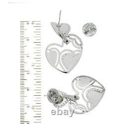 Auth Roberto Coin 18k White Gold Diamonds & Black Enamel Heart Boucles D'oreilles U321