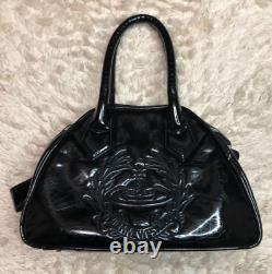 Auth Vivienne Westwood Coeur En Or Noir Orbe Motif Sac Enamel Japon Ex+ 3220cm