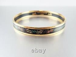 Authentic Hermes Email Bracelet Bangle Enamel Noir Or