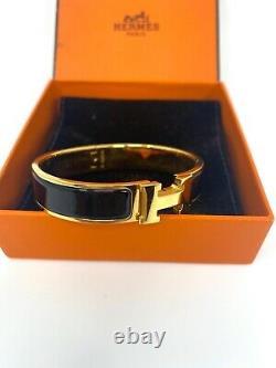 Authentique Hermes CLIC H Enamel Bracelet Gold Narrow Bangle Black Pm Brand Nouveau
