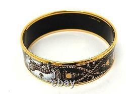 Authentique Hermes Enamel Bracelet Bracelet Cheval Équestre Or & Taille Noire 65