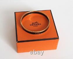 Authentique Vintage Hermes Enamel Bangle Bracelet Black Gold Horse And Carriage