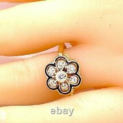 Bague 14k Yellow Gold Black Enamel Diamond Antique Cluster Statement Ring 1/10 Carats