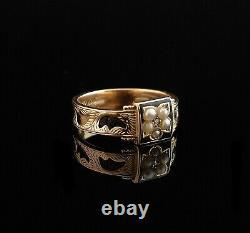 Bague De Deuil Antique, Or Victorien 15ct, Perle Et Diamant, Émail Noir
