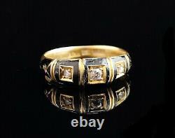 Bague De Deuil Victorienne Antique De Diamant, Or 18ct, Émail Noir