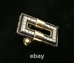 Bague Italienne De Bijoux De Succession 18k Or 18 Diamants Émail Noir Rectangulaire 21,2 G