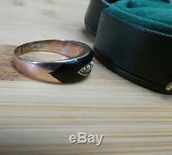 Bague Or Perles Deuil 9ct D'émail Noir