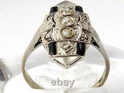 Belle Bague 18k Gold And Platinum Sur Le Dessus Avec Bague Diamond And Enamel (noir)