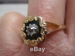 Black Diamond Émail Naturel Extrait Or Jaune 18 Carats Victorienne Mourning Anneau P