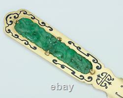 Black Starr & Frost Carved Jade Gold Émail Vintage Letter Ouvreur