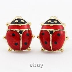 Boucles D'oreilles 14k Solid Yellow Gold Red & Black Enamel Ladybug 2,7 Grammes
