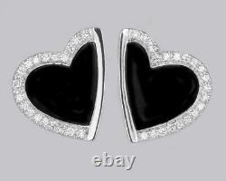 Boucles D'oreilles Roberto Coin Heart Diamond & Black Enamel 18ct Boucles D'oreilles En Or Blanc 2005