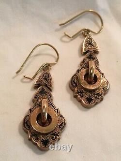Boucles D'oreilles Victoriennes 12 Karat Gold Black Enamel Inlay, Excellent État