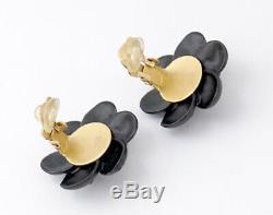 Bouton Camélia Chanel Boucles D'oreilles Black & Gold & Strass Withbox M8774