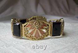 Bracelet Art Nouveau 14k Or Émail Noir Onyx Belle Epoque Museum Qualité Rare