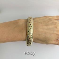 Bracelet Bracelet Bracelet Bleu-bracelet Bleu Bleu Vintage 14k Or Jaune 19,08 Grammes