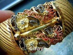 Bracelet Bracelet En Or Jaune 22k Red Black Enamel Floral Design 36.2 Grammes