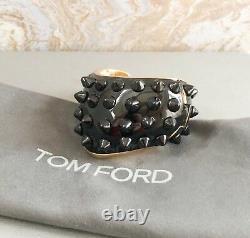 Bracelet Tom Ford Enamel Gold Plaqué Black Spike Cuff Bangle