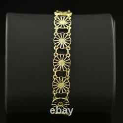 Bracelet Vintage Danish Gilded Silver Daisy Bracelet Avec Émail Noir Bernhard Hertz