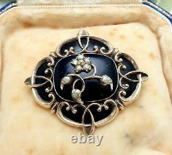 Broche Antique De Deuil De Graine Noire D'émail D'or De 9 Ct Avec La Fenêtre De Cheveux